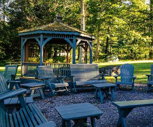 A gazebo and outdoor seating area